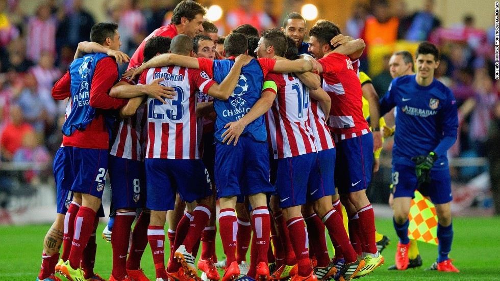 Atletico Madrid players celebrate following their 1-0 win over Barcelona -- 2-1 on aggregate. Atletico has never won the Champions League and lost to Bayern Munich in its only appearance in the final back in 1974.