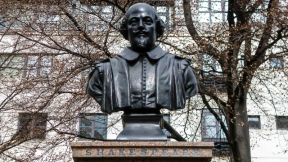 The Shakespeare statue in front of the remains of St. Mary Aldermanbury parish in the City of London.