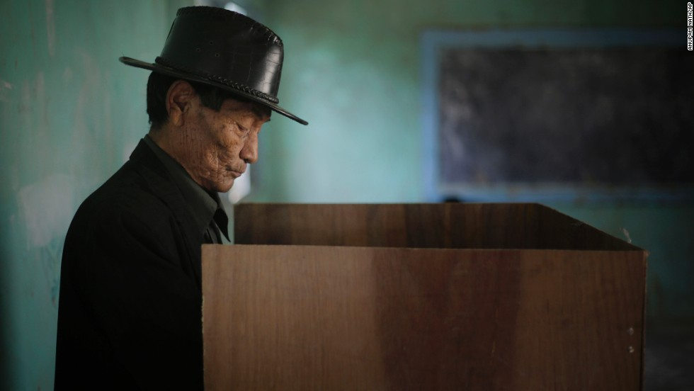 An elderly man casts his vote in Manipur, India, on April 9.