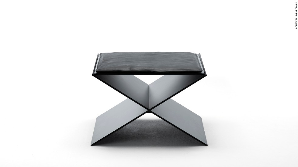 "This <a href=""http://www.livingdivani.it/IT/Home.aspx"" target=""_blank"">Living Divani</a> minimalist stool, by Spanish designer David Lopez Quincoces, combines two aluminum plates which create an X-shaped seat. Its clean, geometric lines are softened by a slim, elegant cushion."