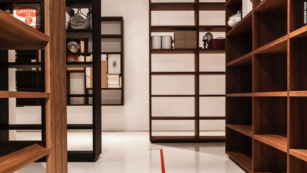 "Italian house <a href=""http://www.porro.com/"" target=""_blank"">Porro</a> presented ""Woodenland"", a labyrinthine bookcase installation by designer Piero Lissoni."