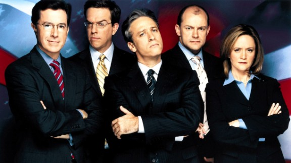 """Colbert, left, was originally one of """"The Daily Show's"""" correspondents. He began with the show during its Craig Kilborn era and stayed when Jon Stewart, center, came to host in 1999. Others on the show included, from left, Ed Helms, Rob Corddry and Samantha Bee."""