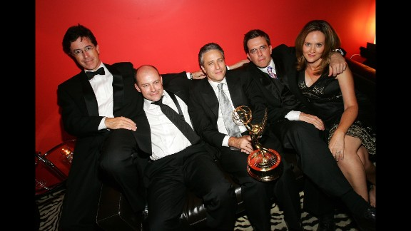 """Colbert's work on """"The Daily Show"""" contributed to a number of awards -- including several Emmys. He poses here with, left to right,  Rob Corddry, host Jon Stewart, Ed Helms and Samantha Bee."""