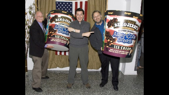 Very quickly, Colbert's influence rose so high that he got his own Ben & Jerry's ice cream flavor: AmeriCone Dream. Here he poses with Ben Cohen, left, and Jerry Greenfield at the flavor's launch party.