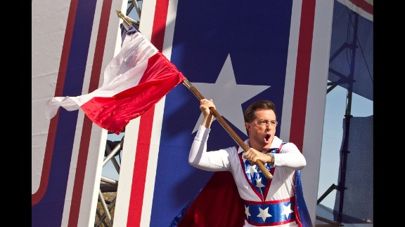 """In October 2010 Colbert teamed up with Stewart for a Washington rally, """"Rally to Restore Sanity and/or Fear."""" Stewart handled the sanity; Colbert took care of the fear. The rally was a response, sort of, to rallies led by Glenn Beck and Al Sharpton."""
