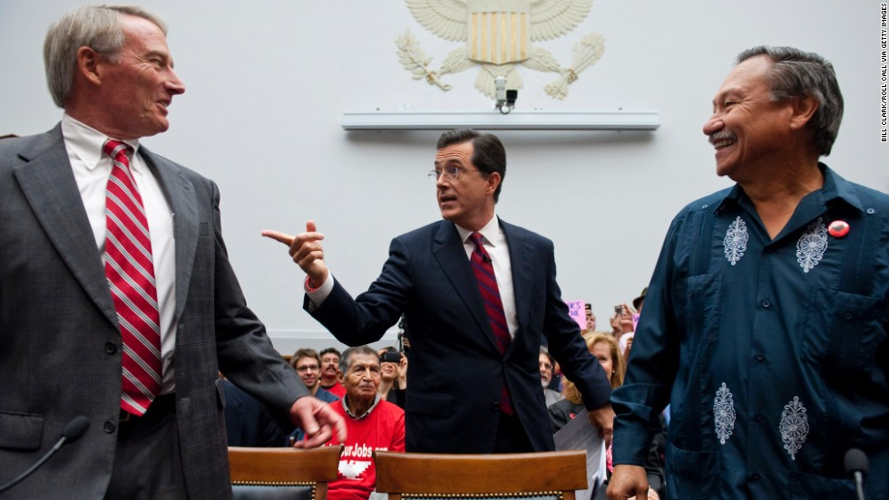 "In September 2010, Colbert testified at a hearing on immigration. He took time to chat with Phil Glaize, chairman of the U.S. Apple Association, left, and Arturo Rodriguez, president of the United Farm Workers. Again, <a href=""http://gawker.com/5647044/stephen-colbert-testifies-before-congress-despite-being-asked-to-leave"" target=""_blank"">some representatives didn't get Colbert</a>."