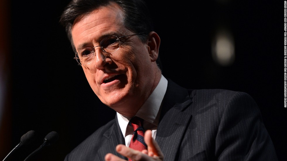Colbert, a devout Catholic, has taught Sunday school and talked about social justice. He spoke at the Robert F. Kennedy Center for Justice and Human Rights 2013 Ripple of Hope Awards dinner.