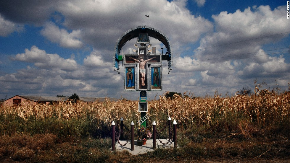 An altar is seen along a road in Transnistria in 2009.