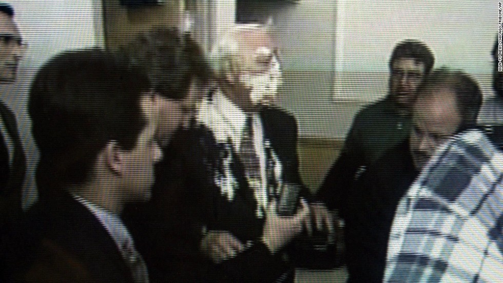 Illinois Gov. George Ryan in 2000 was hit with a pie in the face by a protester while speaking with reporters following a public forum in Carbondale.