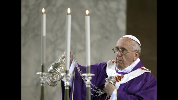 The Pope blesses the altar at Rome