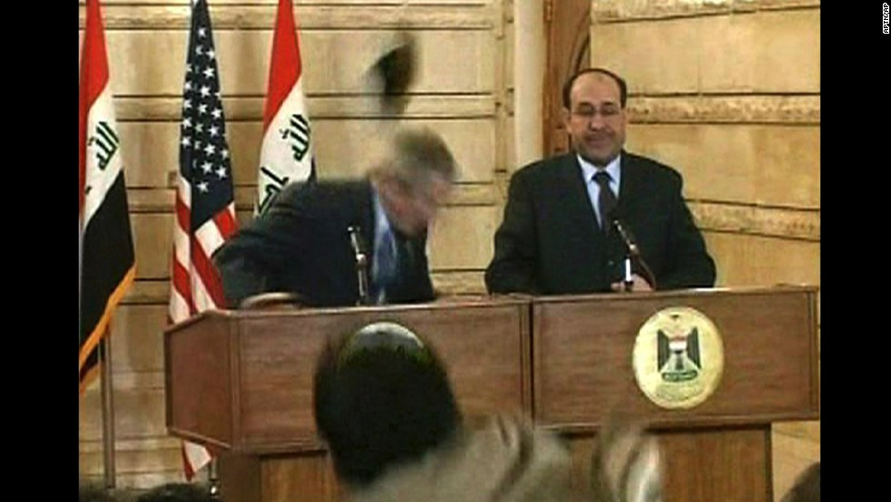 In 2008, President George W. Bush ducked after a man threw a shoe at the podium during a news conference with Iraqi Prime Minister Nuri al-Maliki in Baghdad, Iraq.