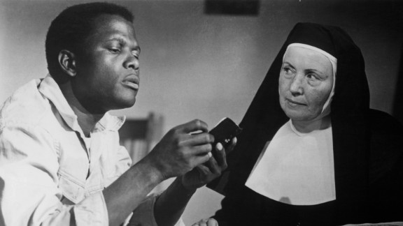 "In the 1963 film ""Lilies of the Field,"" Poitier -- seen here with Lilia Skala -- plays a workman who helps a group of East German nuns construct a chapel in the Arizona desert. Poitier's performance earned him an Oscar, a first for a black actor. Since then, three other black performers have won best actor: Denzel Washington, Jamie Foxx and Forest Whitaker."
