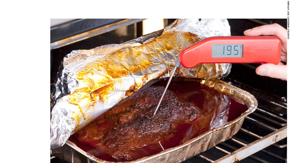 LET COOL IN OVEN: When the meat reaches 195 degrees, turn off the oven. Let the brisket rest in the cooling oven for an hour.<br />WHY? As the meat gently cools, it can reabsorb some of the flavorful juices it expelled.