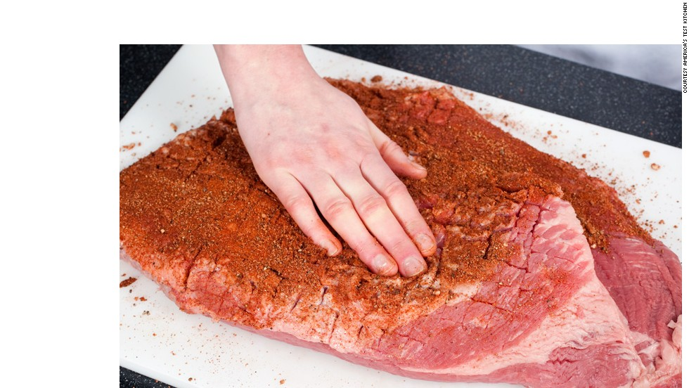 RUB AND WAIT: Massage the rub into the brisket. Then wrap the brisket in plastic, refrigerate and wait.<br />WHY? Salting the meat draws moisture to its surface. The moisture dissolves the salt, and then the meat reabsorbs it, which seasons the meat.