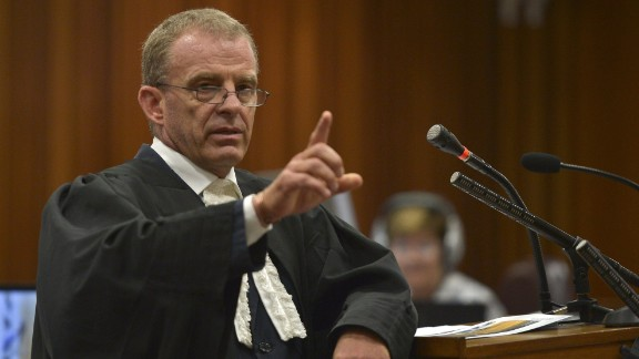 State prosecutor Gerrie Nel attends a hearing of South African Paralympic athlete Oscar Pistorius