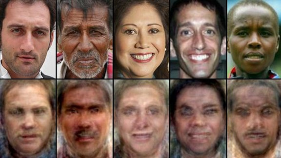 Top row: Images of faces. Bottom row: Reconstructed images based on brain activity, as shown by Alan Cowen and colleagues.