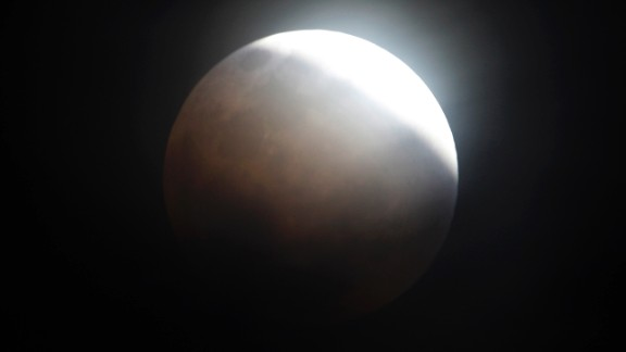 The moon is seen from Manila, Philippines, during the total lunar eclipse in December 2011.