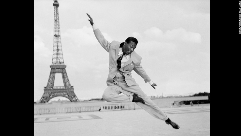 While in retirement, Robinson looked to the entertainment industry for employment, including performing as a dancer.  Here, he is seen dancing on the Esplanade du Trocadero in Paris in 1954.