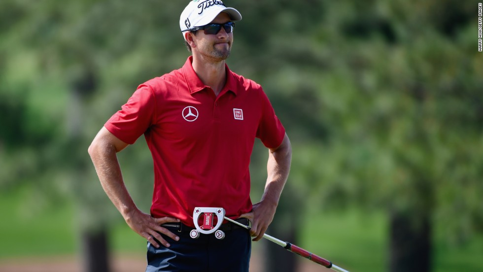 Defending champion Adam Scott dropped three shots early on in the second round before mounting a sustained recovery on the back nine with birdies at the 12th, 13th and 15th holes.