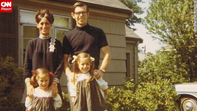 "Michelle Jones shared a photo of her, her sister and parents standing outside her grandparents' home in Newton, Massachusetts. ""I loved the outfits my mom wore, always the latest fashion, big eyelashes and big makeup,"" she said."