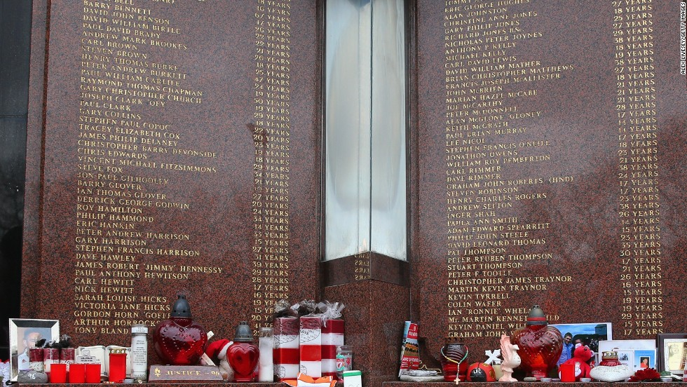 The names of the 96 victims are listed on a memorial outside Liverpool's Anfield stadium.