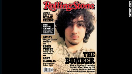 Dzhokhar Tsarnaev on the cover of Rolling Stone magazine.