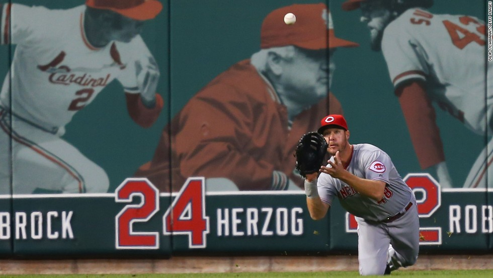 Cincinnati outfielder Ryan Ludwick catches a line drive during a game at St. Louis on Tuesday, April 8. St. Louis won the game 7-5.