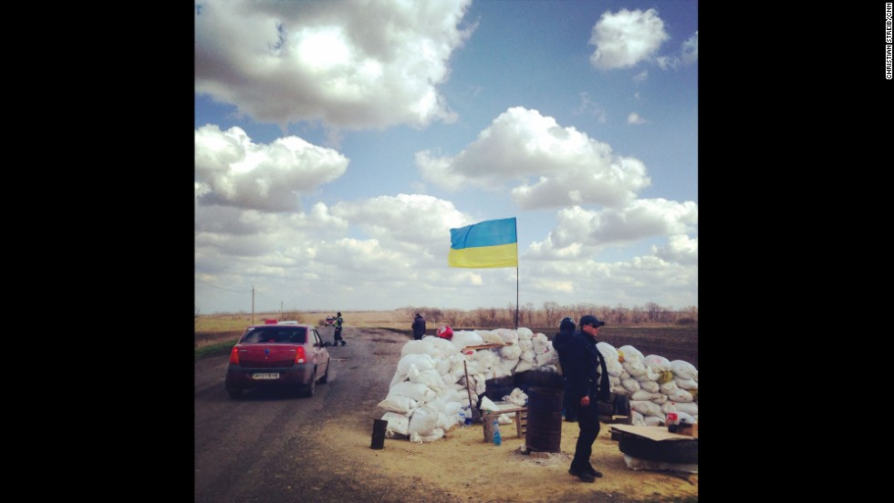 "EASTERN UKRAINE:  ""Ukrainian Police checkpoint north of Donetsk.  A rare sight these days in Eastern Ukraine."" - CNN's Christian Streib, April 15.  Follow Christian on Instagram at <a href=""http://instagram.com/christianstreibcnn"" target=""_blank"">instagram.com/christianstreibcnn</a>."