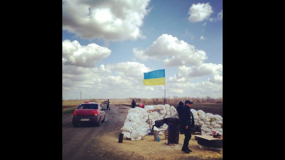 "EASTERN UKRAINE:  ""Ukrainian Police checkpoint north of Donetsk.  A rare sight these days in Eastern Ukraine."" - CNN's Christian Streib, April 15.  Follow Christian on Instagram at instagram.com/christianstreibcnn."