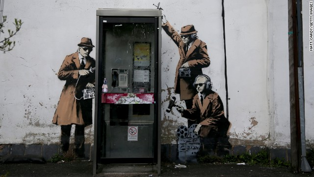 The latest street art attributed to Banksy. on the side of a house in Cheltenham on April 14, 2014 in England.