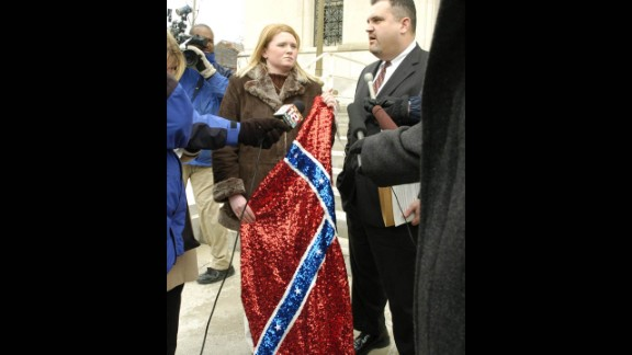 Jacqueline Duty's Confederate flag-themed prom dress got her barred from the 2004 Russell High School prom in Kentucky. She filed a federal lawsuit against the Russell Independent Board of Education.