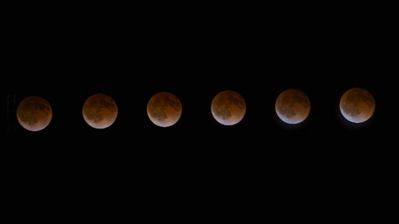 "iReporter Heith Pino of St. Helena, California, used an intervalometer and a shutter release to capture a photo of the April blood moon every four minutes. He stitched together six shots to create this time-lapse photo series. ""I was blown away by the colors it reflected and knew I had to brave the cold, chilly evening to capture it,"" Pino said."