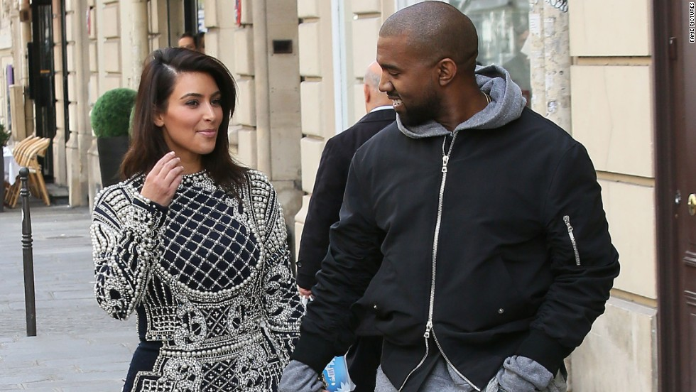 Kim Kardashian and Kanye West indulge in some pre-wedding shopping while in Paris on April 14.