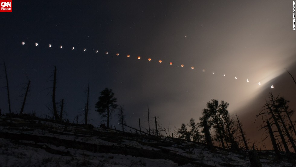 "<a href=""http://ireport.cnn.com/docs/DOC-1121188"">Nate Paradiso</a> created this composite image of the April 15 lunar eclipes, as seen from the foothills of Boulder, Colorado."