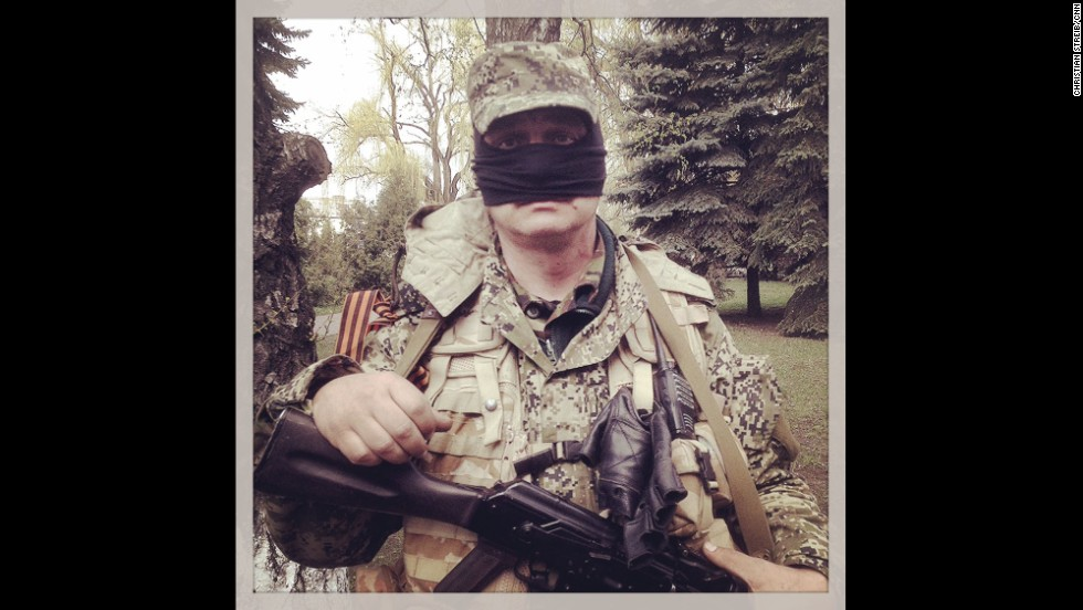 "SLOVYANSK, UKRAINE:  ""Welcome to Balaclavistan! This happy chap wouldn't say if he's Crimean, Russian or Ukrainian."" - CNN's Christian Streib.  Follow Christian on Instagram at <a href=""http://instagram.com/christianstreibcnn"" target=""_blank"">instagram.com/christianstreibcnn</a>."