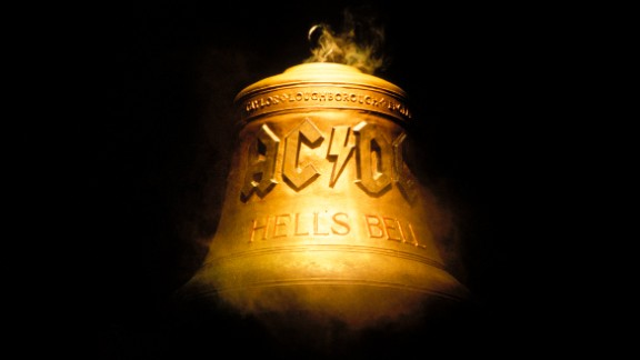 "The ""Hells Bells"" bell is seen on stage at an AC/DC concert in 2000."
