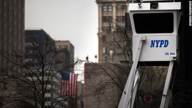 A controversial New York Police Department surveillance unit that cataloged information on Muslim communities has been disbanded. File photo: A police outpost looks over a New York street.
