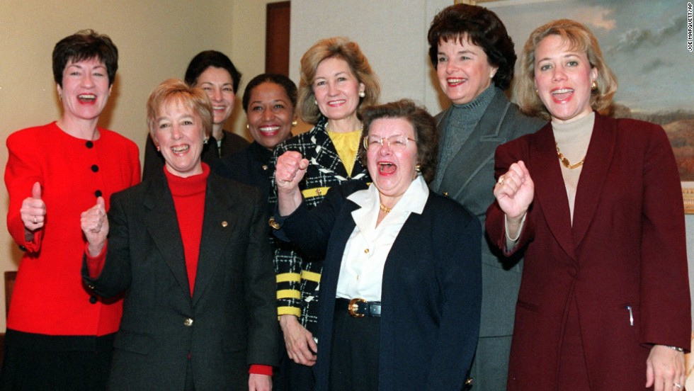Women senators gesture during a meeting on Capitol Hill on January 9, 1997 in which they discussed opportunities for bipartisan cooperation in the 105th Congress. Landrieu is currently one of only 20 women in the Senate.