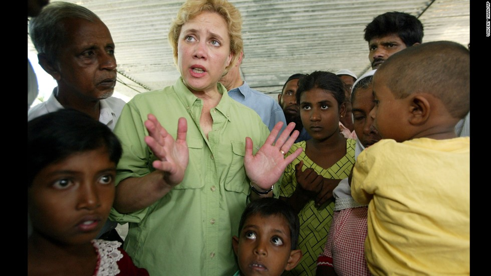 Landrieu talks with tsunami survivors at a refugee camp in Sri Lanka on January 6, 2005, just eight months before her own state of Louisiana and hometown of New Orleans would face massive destruction from Hurricane Katrina.