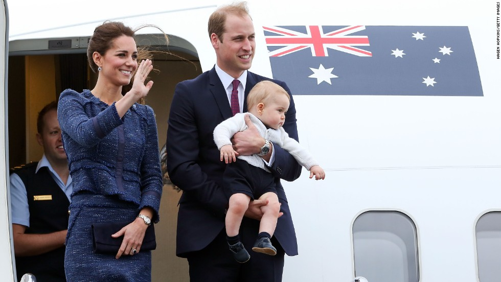The royal family waves to a crowd before boarding a plane in Wellington, New Zealand, in April 2014. They went on a three-week tour of Australia and New Zealand.