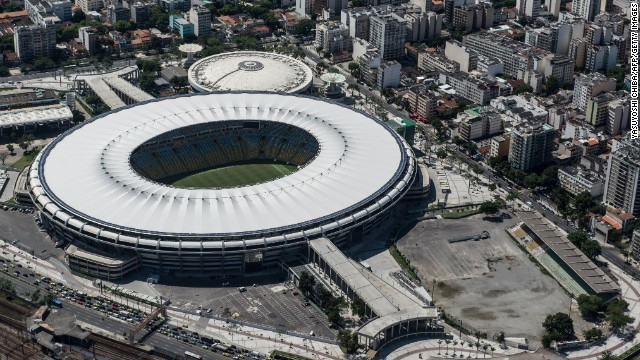 Aerial view of the Mario Filho (Maracana) stadium in Rio de Janeiro, Brazil, on December 3, 2013. The Maracana stadium will host the Brazil 2014 FIFA World Cup and the 2016 Summer Olympics. AFP PHOTO / YASUYOSHI CHIBA JAPAN OUT (Photo credit should read YASUYOSHI CHIBA/AFP/Getty Images)
