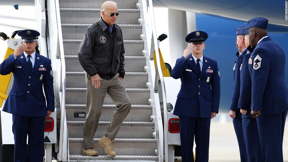 Biden steps down from Air Force Two at McGuire Air Force Base in New Jersey in November 2012.