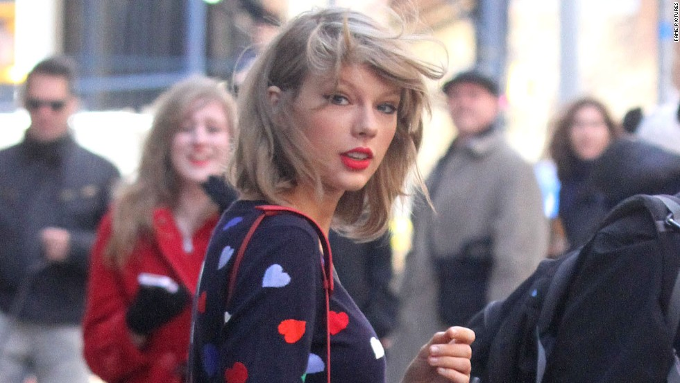 Taylor Swift wears her heart(s) on her sleeve while in New York on April 16.