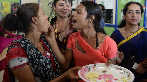 Indian transgenders celebrate the Supreme Court judgement in Mumbai.