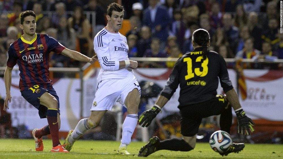 But Real, and Bale, were not to be denied. The winner arrived in the 85th minute when Bale sped past Bartra before squeezing a shot under Barca goalkeeper Pinto.