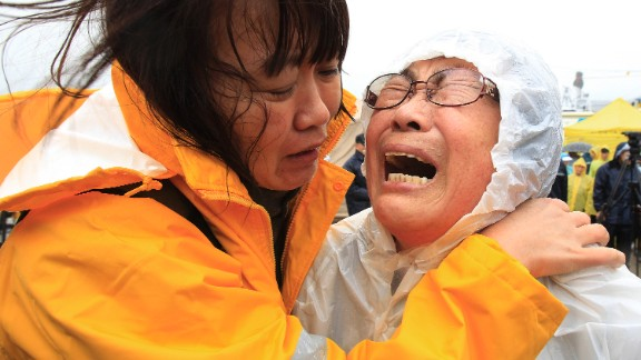 Relatives of a passenger cry at a port in Jindo on April 17 as they wait for news on the rescue operation.