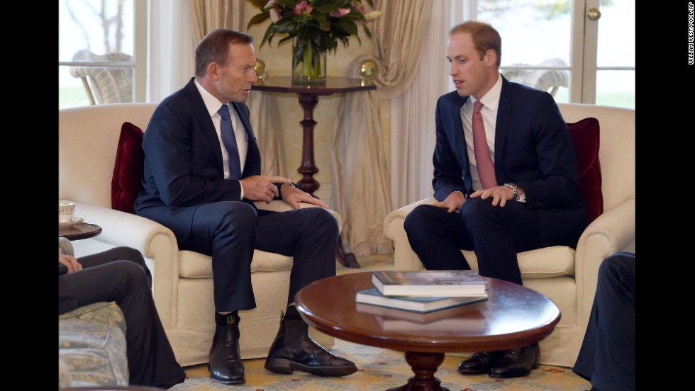William meets with Australian Prime Minister Tony Abbott at Admiralty House in Sydney on April 17.