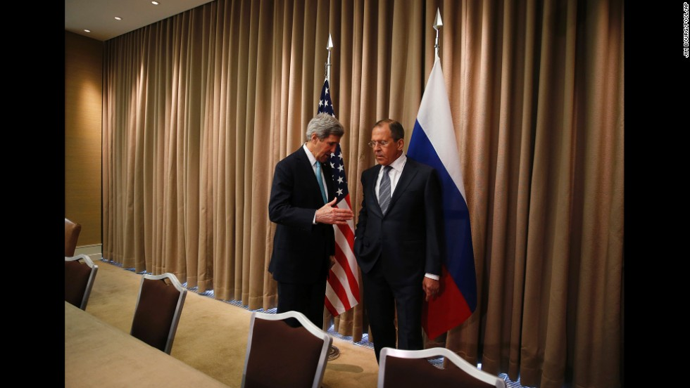 U.S. Secretary of State John Kerry reaches out to shake hands with Russian Foreign Minister Sergey Lavrov at the start of a bilateral meeting to discuss the ongoing situation in Ukraine. The meeting took place April 17 in Geneva, Switzerland.