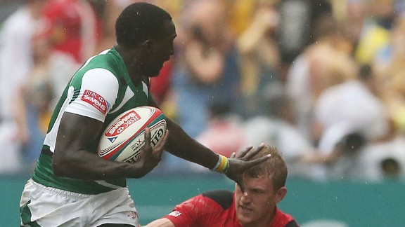 A third sibling, Michael Agevi, is also a member of the Kenya sevens team. Here he is in action against Wales at the Hong Kong Sevens in March, where Kenya won the third-tier Shield final as one of the teams that didn