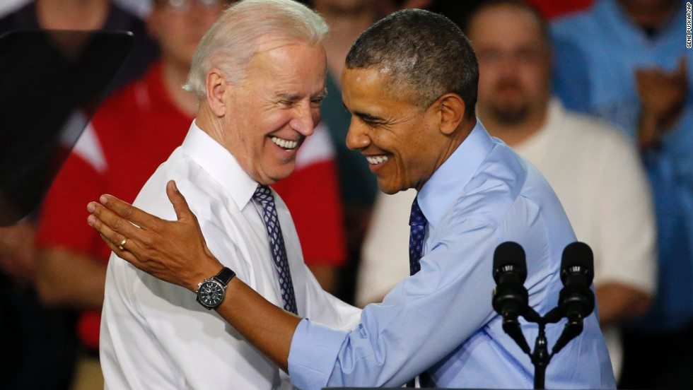 Obama is introduced by Biden as he arrives at an event in Oakdale, Pennsylvania, in April 2014.